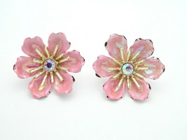 CORO Pink Rhinestone Gold Tone Pink Enamel Flower Clip-On Earrings Vintage - $19.79