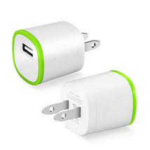 REIKO 1 AMP DUAL COLOR PORTABLE USB TRAVEL ADAPTER CHARGER IN GREEN WHIT... - $9.95