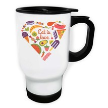 Eat Is Love Heart Shape Novelty White/Steel Travel 14oz Mug gg71t - $17.79