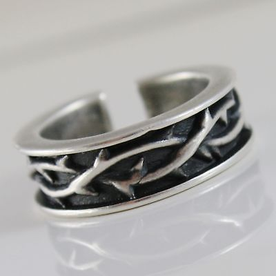 925 SILVER RING BURNISHED BAND WITH CROWN OF THORNS AND SIZE ADJUSTABLE