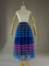 Multi-Color Tiered Tulle Skirt Layered Tulle Midi Skirt Custom Any Size image 2