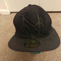 New Era New York Mets Big Under Fitted Hat 7 1/4 Triple Black - $22.88