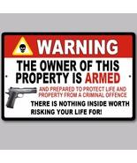 "Gun Pistol Warning Home Business Security Sign Aluminum 8"" x 12"" New - $15.83"