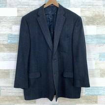 Paul Fredrick Wool Tweed Windowpane Check Sport Coat Navy Blue 2 Button ... - $79.19