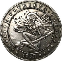 New Hobo Nickel 1878 Sexy Witch Halloween Flying USA Morgan Dollar Caste... - $11.99