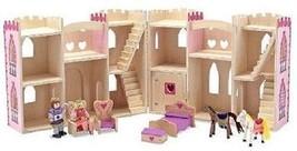 Melissa & Doug Fold Go Pretty Pink Princess Castle Wooden Doll Play Set Kit - $40.80