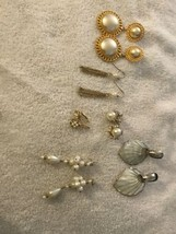 Lot Of Vintage Pearls Earrings Womens Jewelry Gold Silver Pearl Earrings... - $8.90