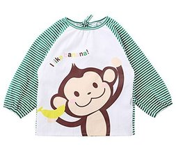 Cotton Cute Cartoon Monkey Baby Bib Kids Painting Smock GREEN (100-120CM Height)