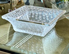 Lalique French Crystal Roses Large Square Bowl Mint in Box Signed & Gorgeous!  - $964.26