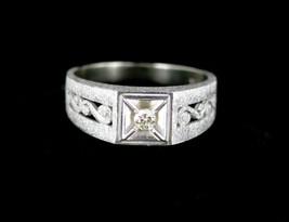 Antique Art Deco 10K Brushed White Gold Diamond Florentine Finish Ring 9.5 - $260.99