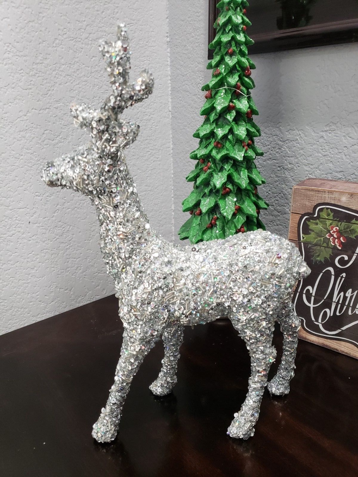 Christmas Beaded Silver Reindeer Tabletop Figurine Statue  Home Decor