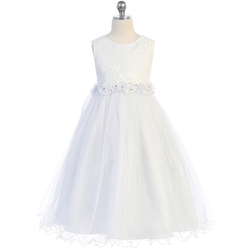Primary image for White Lace Bodice and Wired Tulle Skirt Flower Lace Trim Communion Girl Dress