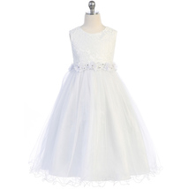 White Lace Bodice and Wired Tulle Skirt Flower Lace Trim Communion Girl Dress - $52.00+