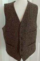 J. Crew Herringbone Tweed Wool Waist Coat Vest Moon British Cloth Brown ... - $53.16