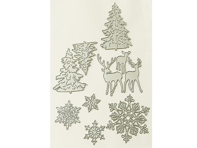 Set of 8 Dies, Trees, Deer, and Snowflakes