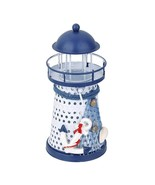 Lighthouse Nautical Tealight Holder Mediterranean Style Hand Painted - $15.99