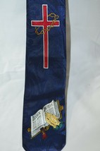 Cross Holy Bible Necktie Tie Religious Jesus Fratello Hand Made Blue Maroon  image 2