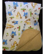 Carters Child of Mine Baby Blanket White Tan Sherpa Zoo Animal Monkey El... - $34.53