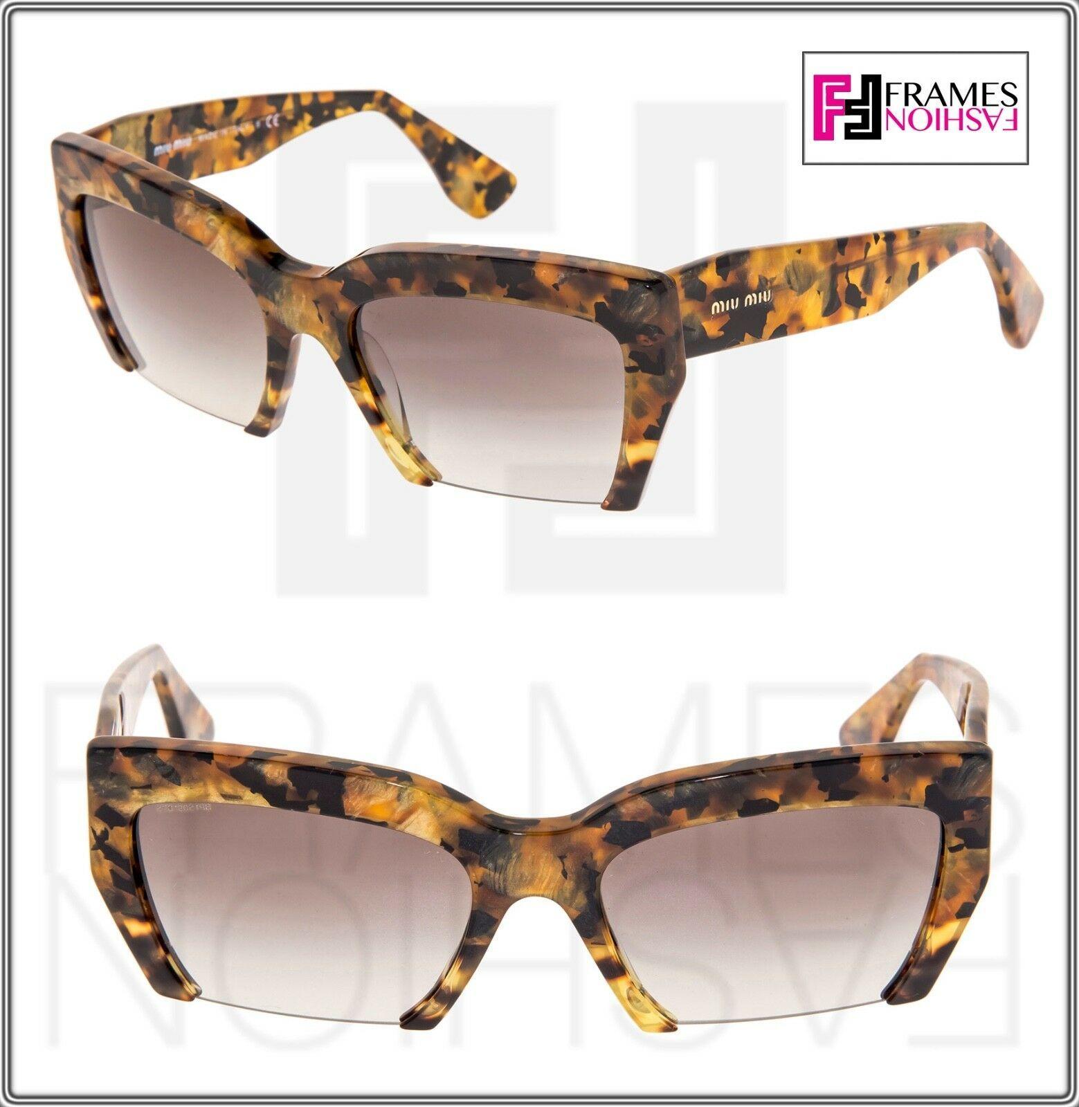 MIU MIU RASOIR 11O Square Sunglasses MAN-0A7 Caramel Marble Sunglasses MU11OS