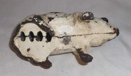 Old Painted Figural Cast Iron Still Penny Bank Pig or Hog Seated on Hind Leg image 6