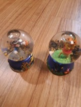 Set of 2 Mini Disney Snowglobes Halloween Mickey Mouse and Winnie The Pooh - $22.72