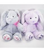 Gray  & Purple Bunny Plush Stuffed Animal W/ Floppy Ears Set 13in - $20.03