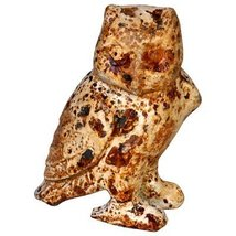 Cast Iron Owl Statue Figurine Cream 5 inch - $10.88