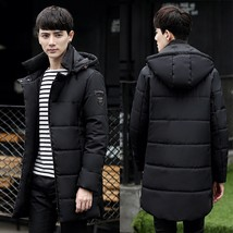 Men's Long Sleeves Cotton Puffer Quilted Hooded Pea Coat - $70.18