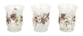 """3.5"""" Crackle Glass Votive with Pine Branch Graphics Candle Holders Set of 3 - $24.70"""