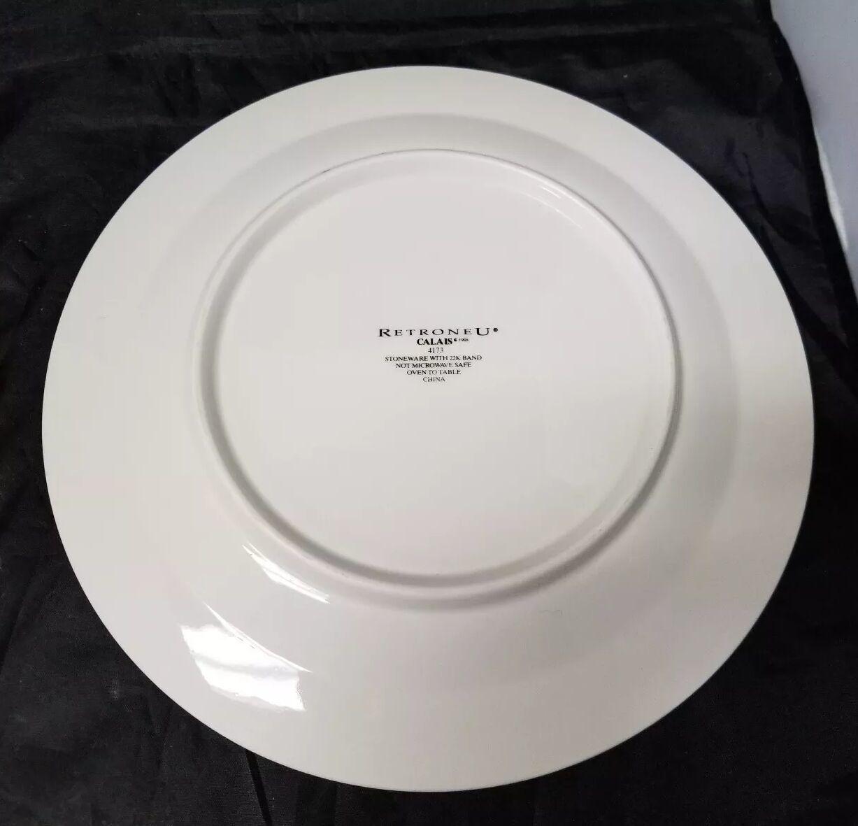 """Retroneu Calais Dinner Plates Set of 2, 10.5"""" White w Gold Trim 4173 image 10"""