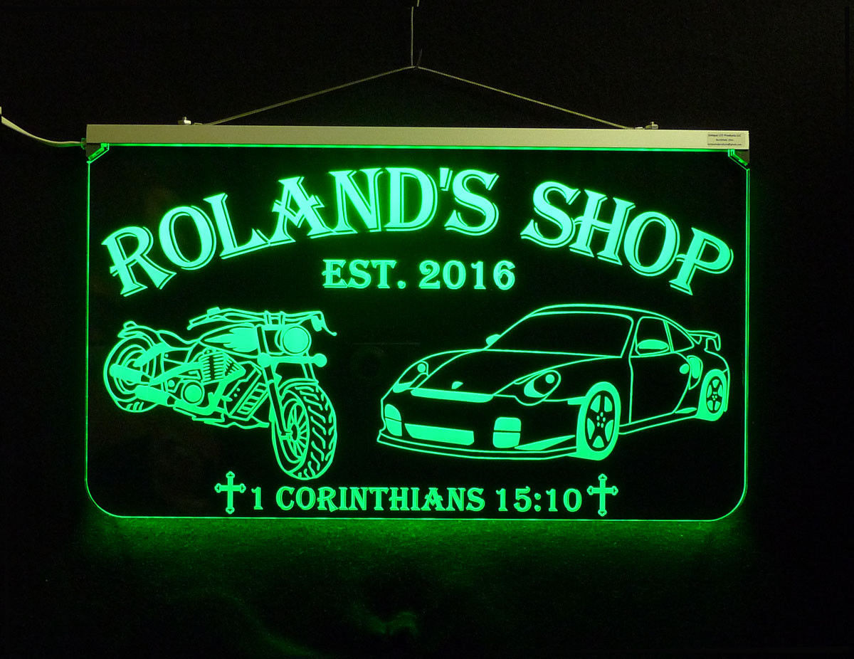 Personalized Motorcycle, Race Car LED Sign, Man Cave, Garage Sign, Gift for Dad image 7