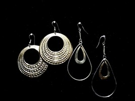 2 Pair Vintage Earrings Gold Color Tear Drop Double Hoop Costume Fashion... - $9.66