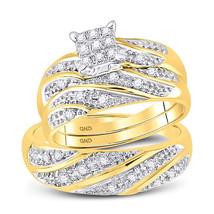 10k Yellow Gold His Hers Round Diamond Cluster Matching Bridal Wedding Ring Set - $451.00