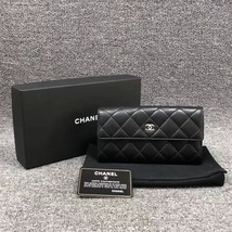 AUTH CHANEL BLACK QUILTED LAMBSKIN LARGE FLAP TRI-FOLD CLUTCH WALLET  image 2