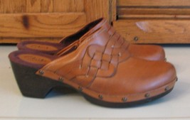 Clarks Artisan Honey Brown Leather SHOES Woman's 7 M FANCY Mules - $18.80