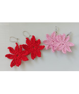 Crochet Flower Earrings / Crochet Flower Drops / Handmade Flower Earrings - $10.00