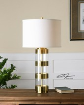 "ANGORA XXL 31"" BRUSHED BRASS MODERN ACRYLIC TABLE LAMP CRYSTAL BASE UTTE... - $327.80"