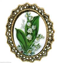 Porcelain Oval Vintage Brooch/Pendant Signed WAC Green and Pink Florals ... - $14.95
