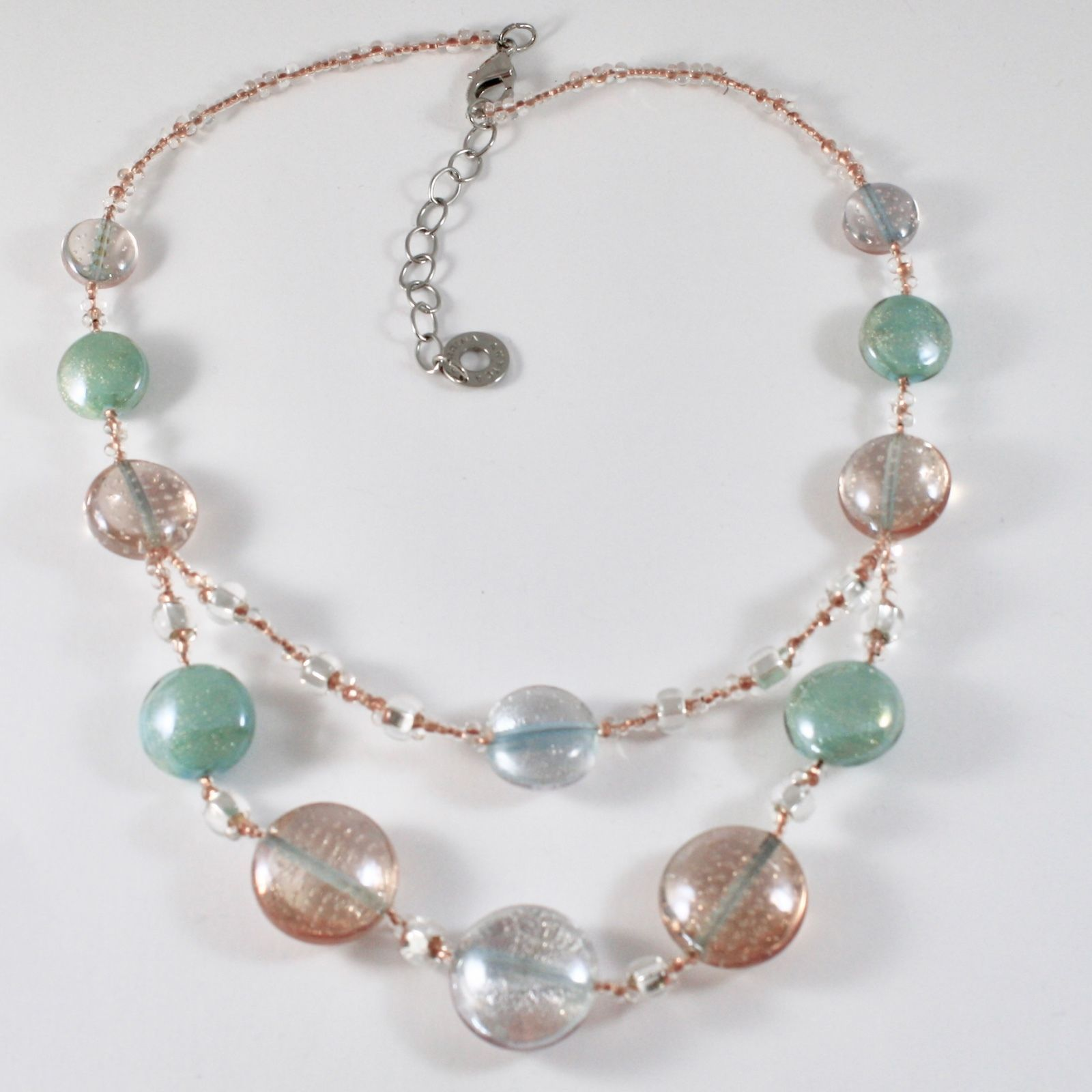 NECKLACE ANTICA MURRINA VENEZIA WITH MURANO GLASS, DISCS PINK GREEN WHITE