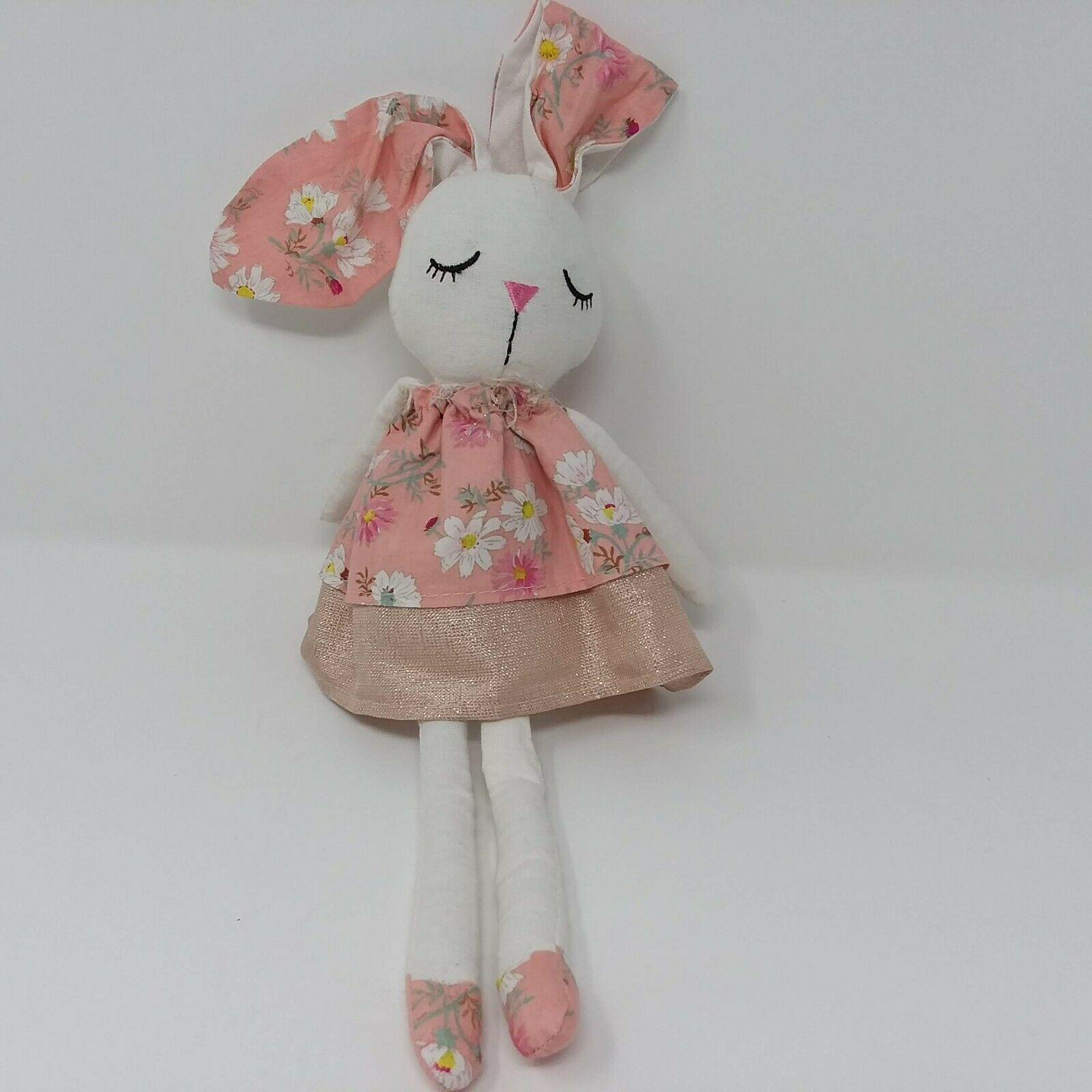 Mud Pie Girl Doll Rabbit Bunny Pink Floral Ears Dress Easter Fabric Plush Toy - $37.36