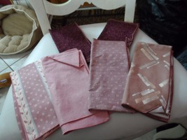Set of 6 mauve tone misc dinner napkins, basket liners - $9.50