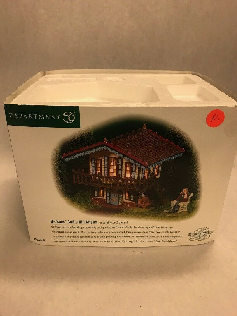 Primary image for Vintage Department 56 box Dickens village Gads Hill Chalet 1 pc only no person