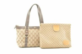 GUCCI GG Canvas PVC Hand Clutch Bag Beige Auth ar1826 - $210.00