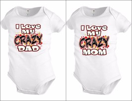 I love my crazy Mom Dad Funny Baby shirt Bodysuit Infant toddler Shower ... - $12.99