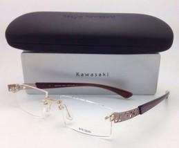 Nuevo Kazuo Kawasaki Gafas Mp 708 43 51-19 Titanio sin Montura Gold&brown