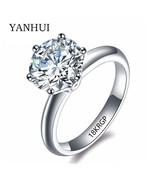 Gp stamp original gold ring set 8mm 2 carat sona cz diamant engagement ring white gold thumbtall