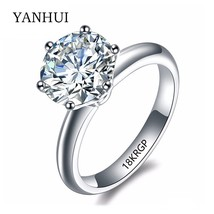 18KRGP Stamp Original Gold Ring Set 8mm 2 Carat Sona CZ Diamant Engageme... - $20.19
