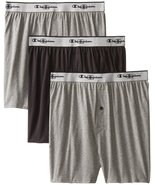 Champion Men's 3-Pack Knit Boxer, Gray/Black, Large - $15.67