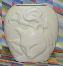 Vintage Cat Vase Matt White by Crowning Touch Japan 6.5x6 - $15.00