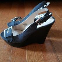 Nine West Black/Dark Grey Open Toe Wedges Size 7 - $18.99